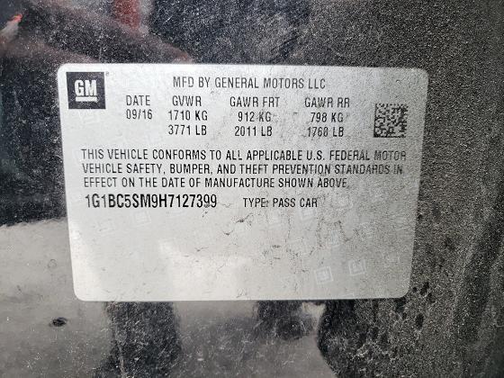 1G1BC5SM9H7127399 2017 CHEVROLET CRUZE LS - фото 10