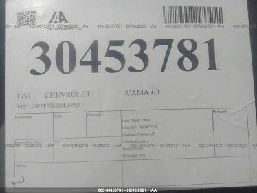 1G1FP23E1ML149331 1991 CHEVROLET CAMARO RS - фото 9