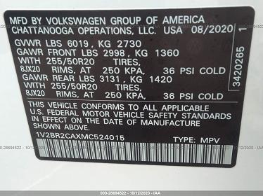 1V2BR2CAXMC524015 2021 VOLKSWAGEN ATLAS 3.6L V6 SEL - фото 9
