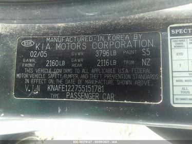 KNAFE122755151781 2005 KIA SPECTRA LX/EX/SX - фото 9
