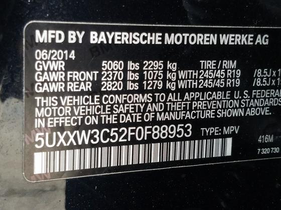 5UXXW3C52F0F88953 2015 BMW X4 XDRIVE28I - фото 10