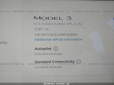 5YJ3E1EA4MF928861 2021 TESLA MODEL 3 STANDARD RANGE PLUS - фото 7