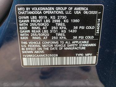 1V2RR2CA4MC525028 2021 VOLKSWAGEN ATLAS SE - фото 10