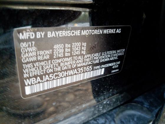 WBAJA5C30HWA35165 2017 BMW 530 I - фото 10